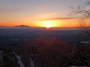 下山の日、ご来光が見えました